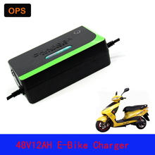 OPS Lead Acid Battery Portable Deepcycle Charger 48V 12AH 14AH For Electric Bike Bicyle  Scooters DC100-240V Output 58V 2A  Volt