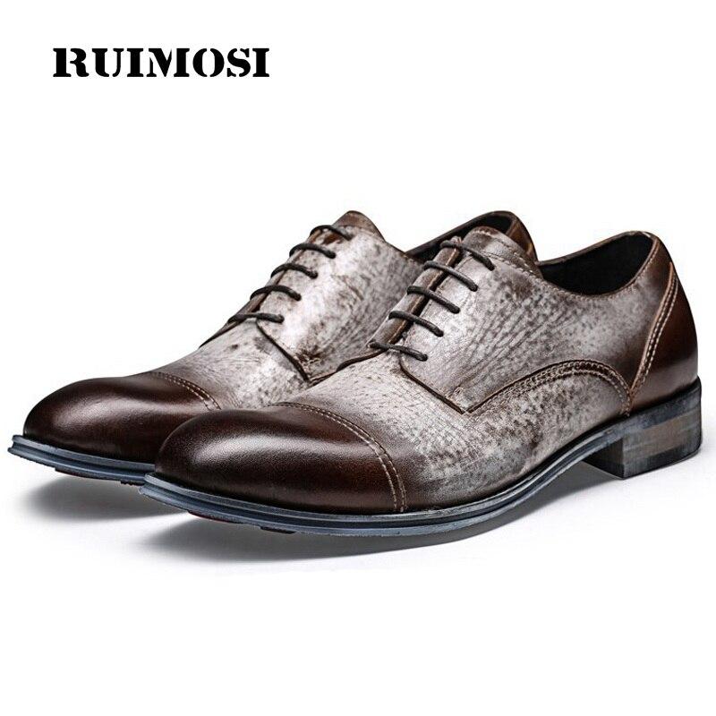 RUIMOSI Vintage Formal Man Derby Bridal Dress Shoes Genuine Leather Wedding Oxfords Luxury Brand Round Toe Men's Footwear QC85
