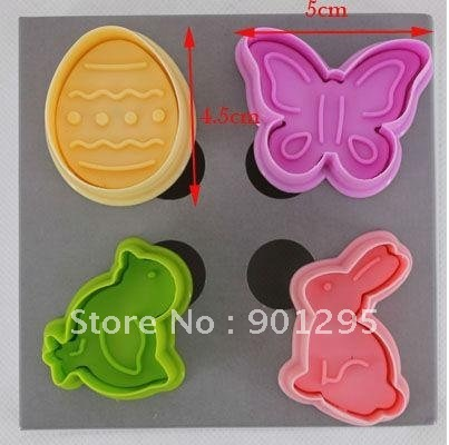 MIN$20 Wholesale-free shipping 4 pcs 3D butterfly,chicken,rabbit and egg Cake/cookie cutter Plunger Fondant Mould cookies cutter