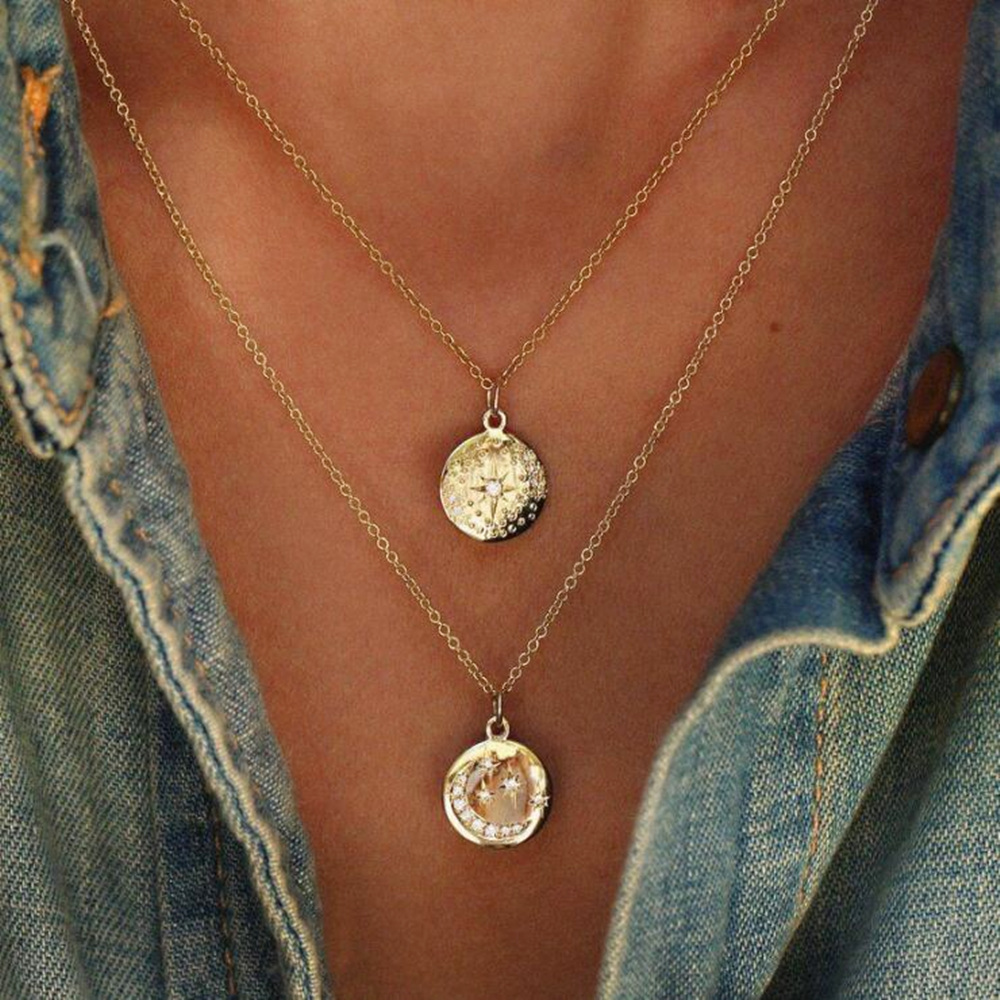 Boho Star Moon pendant Necklace Double Layered Crystal Necklace Gold Chain Choker Coin Necklace Women Accessories Collier Femme