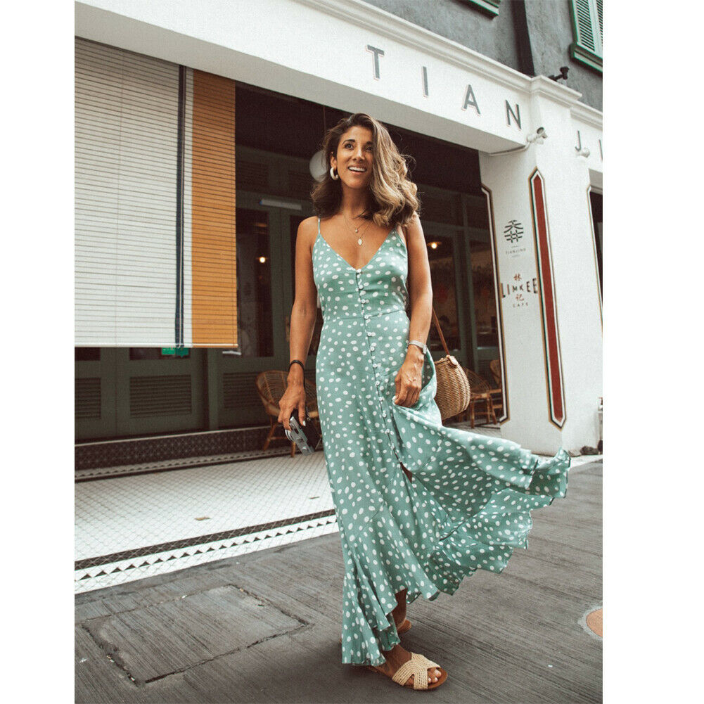 Summer Polka Dot Strap Dresses 2019 New Women Casual Sleeveless V-Neck Loose Long Maxi Dress