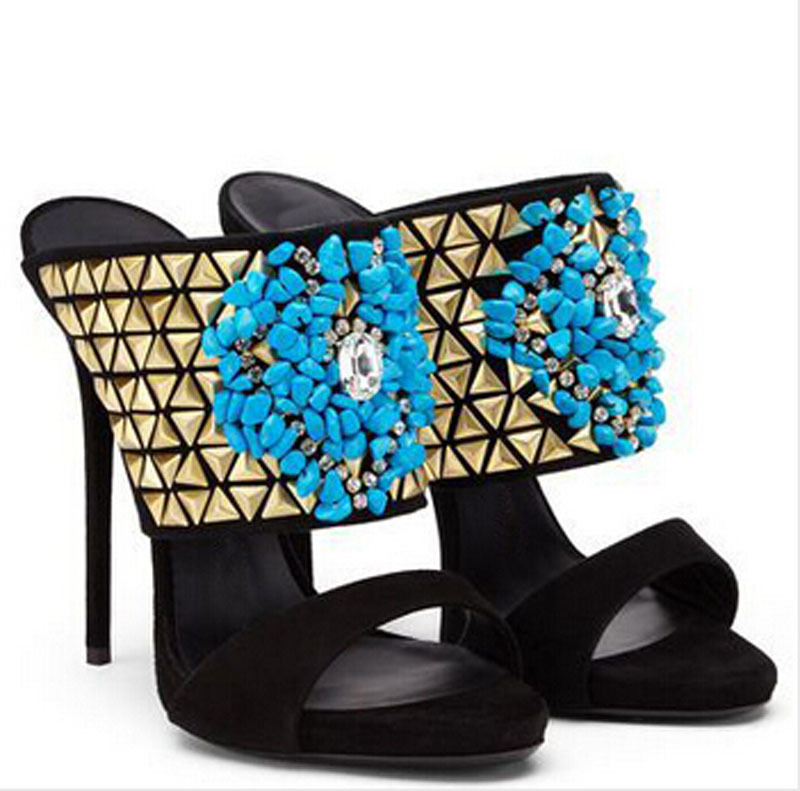 2015 hot selling blue stone high heel slippers cut-outs open toe woman summer style shoes одежда из меха blue stone in autumn 056 2015