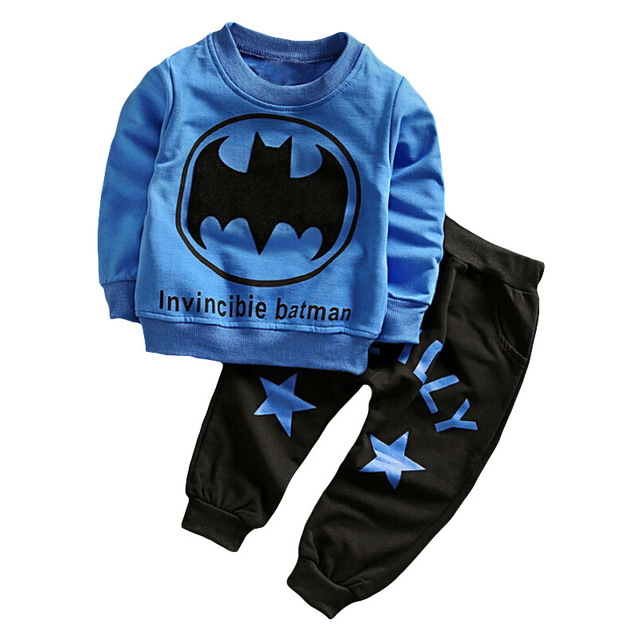 2pcs Children Clothing Sets Boys Batman Superman Clothes Kids Tracksuit Fashion T Shirt Long Sleeve Baby Pants 2-4Y Sport Suit