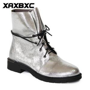 Женские короткие ботинки XAXBXC, теплые ботинки из искусственной кожи с перекрестной шнуровкой в ретро-стиле ручной работы на осень и зиму 2018
