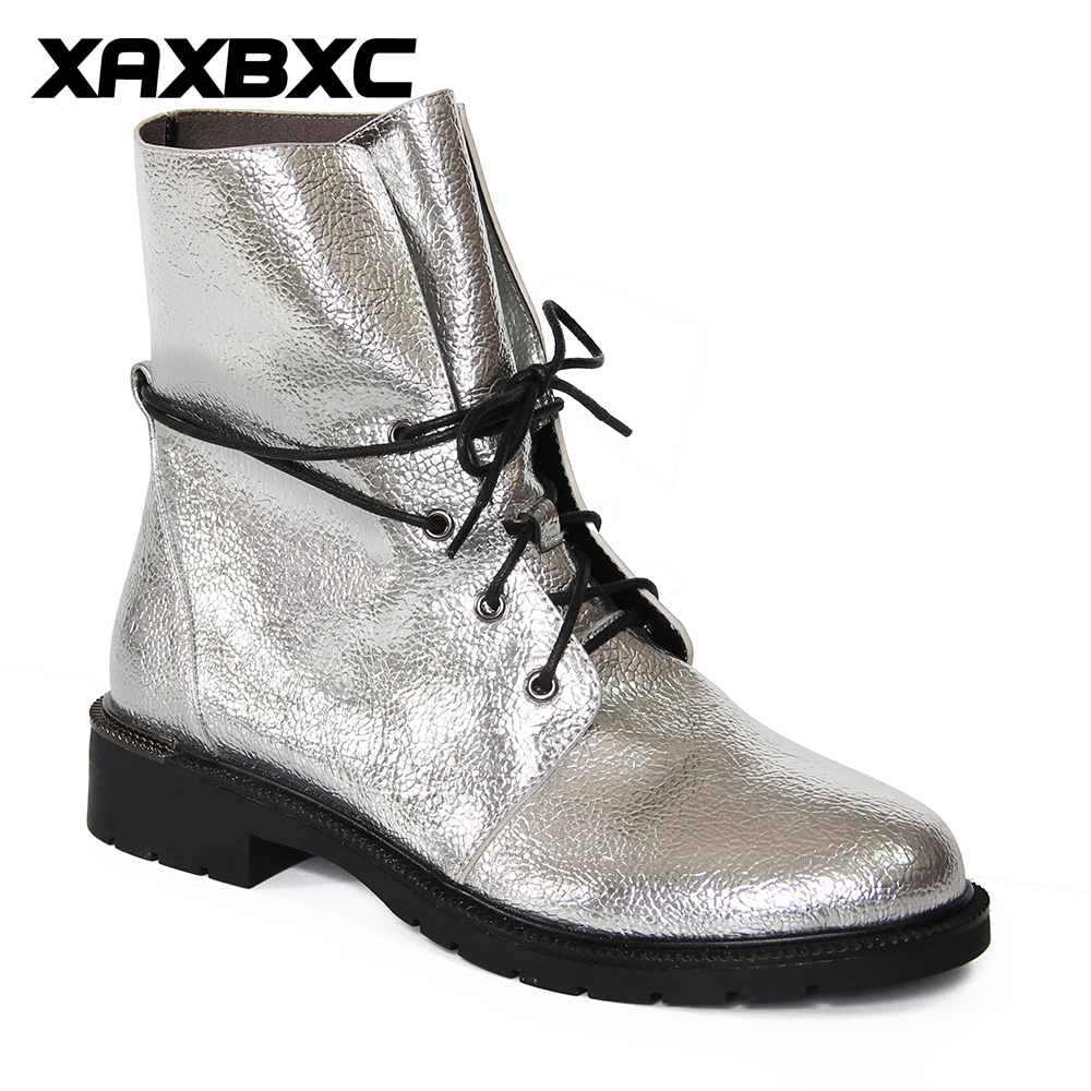 XAXBXC 2017 Retro British Winter Silver PU Leather Cross-tied Short Ankle Boots Warm Women Boots Handmade Casual Lady Shoes ankle black solid cross tied winter martain boots zipper design suede british style botas femeninas walkway casual shoes women