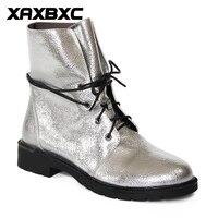 XAXBXC 2017 Retro Britse Winter Zilver PU Lederen Cross-gebonden Korte Enkellaarsjes Warm Vrouwen Laarzen Handgemaakte Casual Lady schoenen