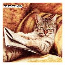 ZOOYA Diamond Painting Animal Cat Embroidery Full Drill Pack 3D DIY Mosaic Decor Rhinestones Needlework RF1822
