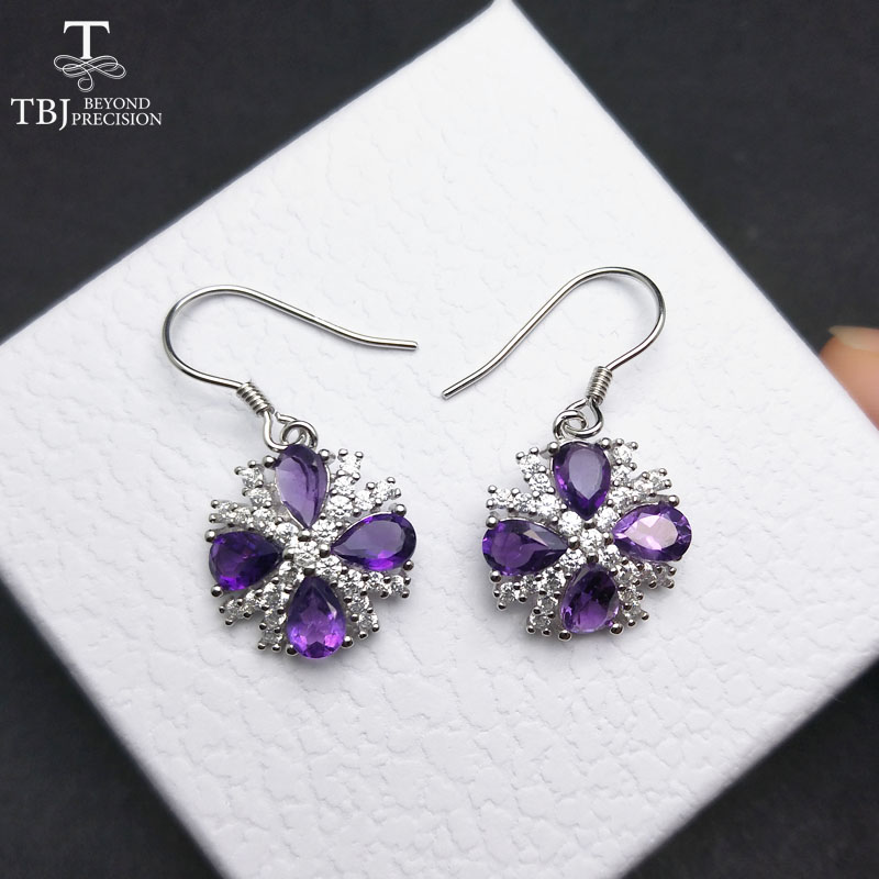 все цены на TBJ,925 sterling silver hook earring with natural 4ct african amethyst good color gemstone earring for women with gift box онлайн