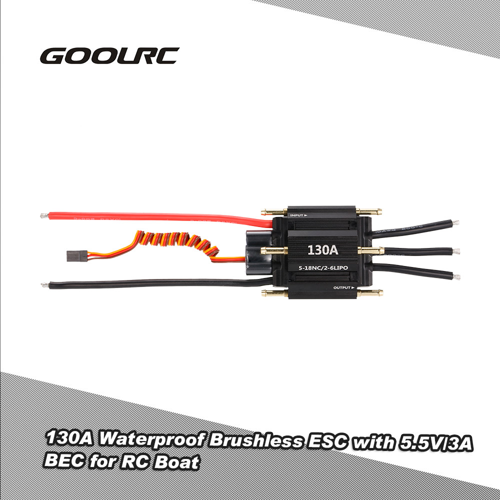 Original GOOLRC 130A Waterproof Brushless Electronic Speed Controller ESC with 5.5V/3A BEC for RC Boat 2016 flycolor 90a brushless waterproof alu alloy electronic speed control esc with 5 5v 5a bec for rc boat aircraft free ship