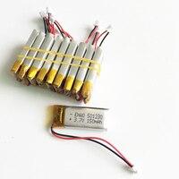 많은 10 개 3.7 볼트 150 미리암페르하우어 리튬 폴리머 리튬 폴리머 충전식 배터리 501230 1.5 미리메터 커넥터 Mp3 GPS PSP 블루투스 헤드
