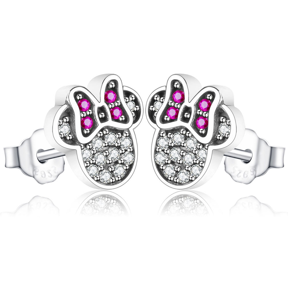 925 Sterling Silver Red Miky Shape Sparkling Minnie Jewelry Special Store Stud Earrings Jewelry Brincos 2018 Fashion Anniversary