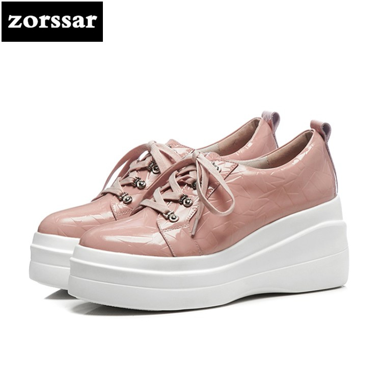 {Zorssar} 2018 NEW arrival casual womens shoes Genuine Leather Wedges High Heels pumps platform Fashion women sneakers shoes 2017 new women s genuine leather pumps female casual shoes sexy lady medium heels fashion high wedges platform flower slip on