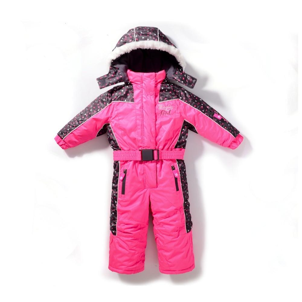 Baby girls Rompers Winter Thick Warm Hooded Jumpsuit Kids snowsuit waterproof girls rose red fleece Outwear