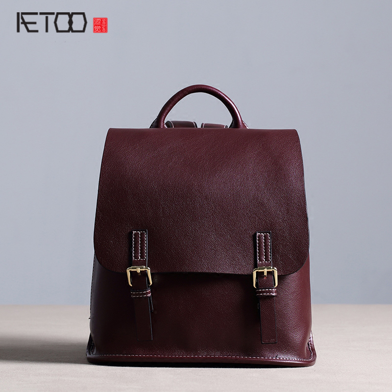 AETOO New fashion leather backpack female shoulder bag leather Korean street fashion simple leisure travel bag 2017 new fashion leather backpack female korean version of the street stream simple leisure travel bag bag shoulder bag leather