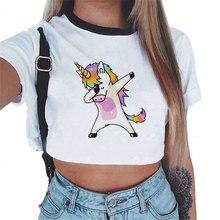 2019 Harajuku divertido Unicornio camiseta mujeres Tops Kawaii Unicornio camiseta femenina verano Crop Top camiseta Licorne Sexy camisetas recortadas