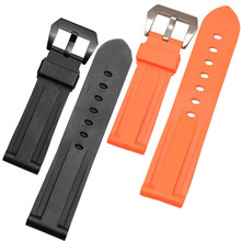 24mm 26mm Replacement Waterproof Rubber Diver Watch Band Strap And Buckle / Clasp For PAM Watchband 14mm silicone watch strap diver watch band rubber wrist watch bracelet with stainless steel buckle clasp and spring bar and tool