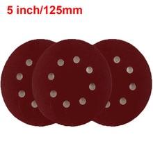 """URANN 10 stücke 5 """"125mm 8 Loch Beflockung Schleifpapier Selbst adhesive Schleifpapier Poröse Zurück Samt Disc Grit 40/60/80/120/150/180 ~ 3000"""