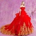 Trajes de novias 2016 Gothic Red Ball Vestido Da Princesa Vestidos de Casamento com Laço Do Ouro Apliques de Cristal vestidos de casamento
