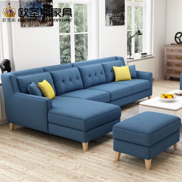 New Arrival American Style Simple Latest Design Sectional L Shaped Corner Living Room Furniture Fabric Sofa