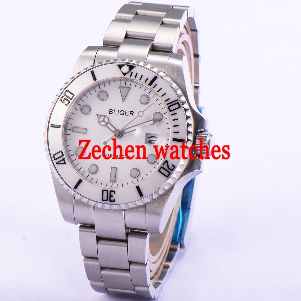 43mm Bliger Date Day Sapphire Glass Automatic Mechanical Luminous Men Watch white dial цена и фото