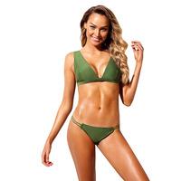 Army Green Roped Up Skimpy 2pcs Bikini Set Swimsuit Grommet Detailing Clip Closure at Back Strappy Sides Bottom
