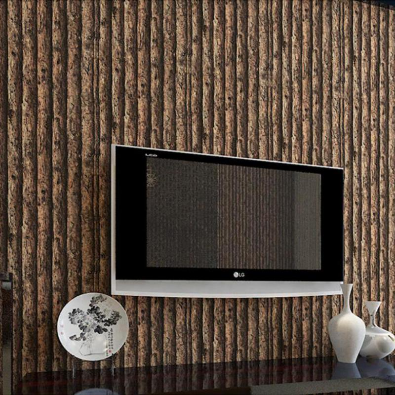 Forest background living room wallpaper pvc 3d embossed for 3d wood wallpaper