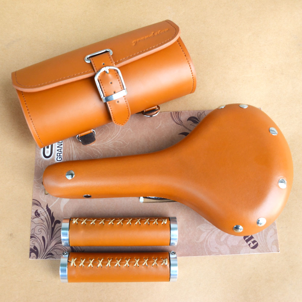 Taiwan original vintage authentic high end real cow leather fixed gear bike  3 in 1 set bag grip saddle stupid casual настольная игра фэнси