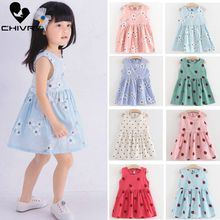 Children Summer Dresses Kids Baby Girls Sleeveless Flower Print Cotton and Linen Floral A-line Dress Summer Dresses for Girls