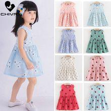 Children Summer Dresses Kids Baby Girls Sleeveless Flower Pr