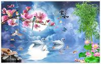 High Quality Hot Sale Custom 3d Wallpaper Murals Beautiful High Definition Night Spending A Romantic Swan