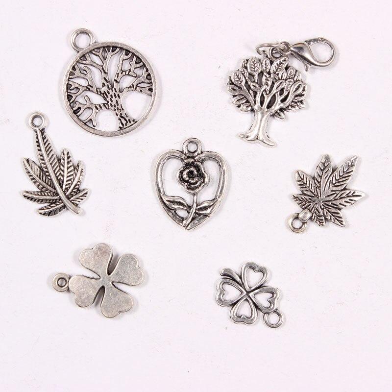 Mix Plants Floating Charms Vintage Antique Silver Pendant DIY Dangle Charms For Bracelets Accessories 30PCS