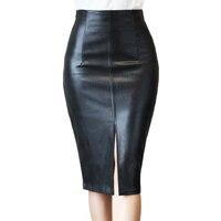 Plus Size S 4XL PU Leather Pencil Skirt Women 2016 Autumn Winter Fashion Knee Length Saia
