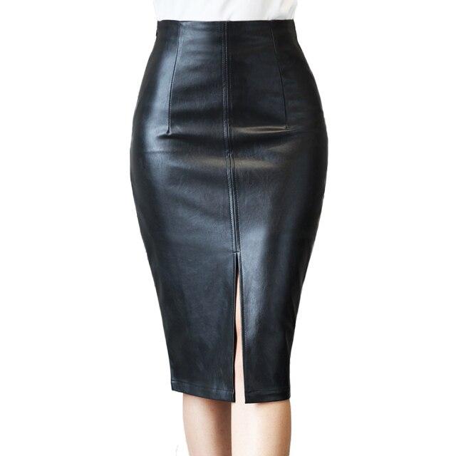 Plus Size S-4XL Leather Skirt Winter 2016 Fashion Black Knee Length Pencil Skirt Slim Office Women Skirt Vintage Midi Skirt