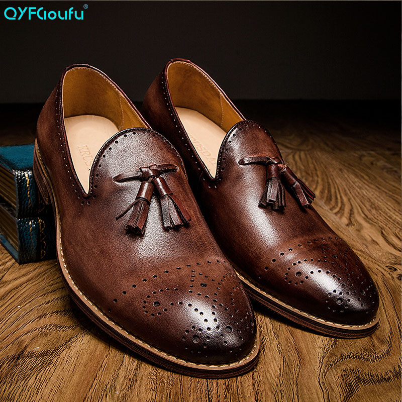 QYFCIOUFU Designer Formal Oxford Shoes For Men Wedding Genuine Leather Italy Tassel Mens Dress Vintage
