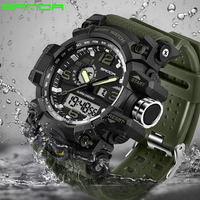 2017 SANDA New Sport Men S Watch Analog Quartz Watch Waterproof Dual Display LED Digital Electronic