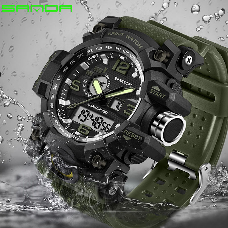SANDA New S Shock Men Sports Watches Big Dial Sport Watches For Men Luxury Brand LED Digital Military Waterproof Wrist Watches bodywork injection molded for honda cbr 600 f4i fairings 01 02 03 cbr600 2001 2002 2003 black sevenstars fairing kit re70