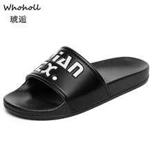 Whoholl Mens Slippers EVA Men Shoes Women Couple Flip Flops Soft Black and White Stripes Casual Summer Male Chaussures Femme 44