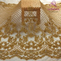 New fashion style off white/gray heavy handmade beads on netting embroidered wedding dress/evening dress lace fabric by yard
