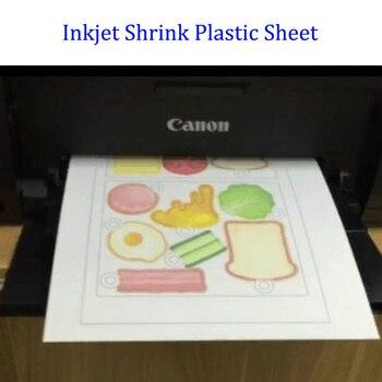 5 unids/lote, impresora de inyección de tinta, hoja de plástico retráctil, DIY, juego de juguetes creativos, tamaño de papel A4, Color blanco transparente