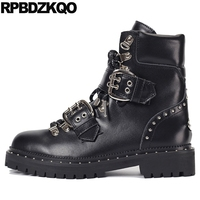 ботильоны на платформе коренастый женщины металл обувь шпилька батильоны лифт ботинки панк рок роскошь зашнуровать черный заклепка плоски