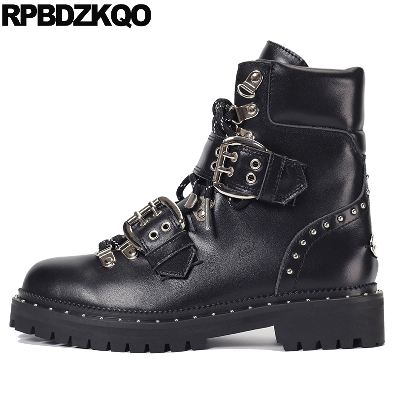 793105a6095e Ankle Platform Chunky Women Metal Shoes Stud Booties Elevator Punk Rock  Boots Luxury Lace Up Black Rivet Flat Fashion New 2017-in Ankle Boots from  Shoes on ...