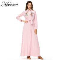 MISSJOY Abayas for women Muslim Dress long sleeved striped embroidered robe version of the loose Turn down Collar party dresses