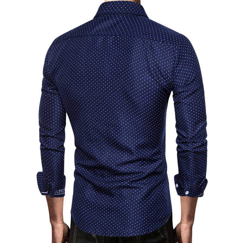 VISADA JAUNA 2019 新野生男性のスポット印刷コントラストカラーペーストポケット長袖シャツサイズ S-2XL TLH109