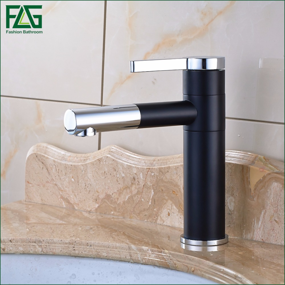 Free Shipping Basin Faucet 720 Degree Swivel Black Painting Chrome,Cold Hot Deck Mounted Vanity Sink Bathroom Tap Mixer 101-11 1 piece free shipping anodizing aluminium amplifiers black wall mounted distribution case 80x234x250mm