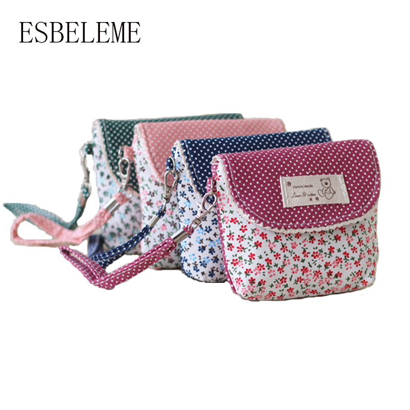 2017 women brief ultralight small cotton fabric floral bag female red blue pink girls mini change coin bags ladies key bag YI393