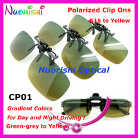 10/20pcs CP01 G15 to Yellow Gradient Color Polarized Clip On Sunglasses TAC Lens with UV400 for Day Night Driving Free Shipping