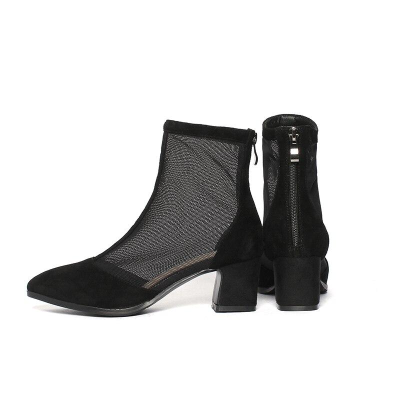 Bout Chaussures Carrés noir Pour Mode Femme Bottes Pointu Kcenid 34 Maille Talons Taille Patchwork Daim Apricot Grande 42 Enfant Stretch Bottines Femmes rsQCthd
