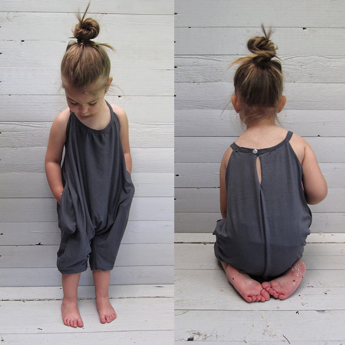 Kids Girls Jumpsuits 2017 New Summer Baby Girl Solid Overalls Jumpsuit Bodysuits Soft Girls Fashion Sunsuits Outfit Clothes