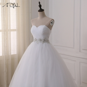 ADLN Stock Wedding Dresses Vestidos de novia Sweetheart Sweep Train Lace Applique Corset Wedding Dress Gowns Robe De Mariage 4
