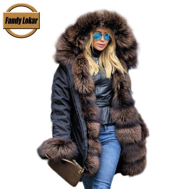 268c34e2e0c1 Fandy Lokar FL Real Fur Parka Winter Women Jacket Fashion Genuine Fox Fur  Parka With Real Rabbit Fur Lining Fur Coats